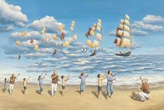 "The Art of the Illusion: Deceptions to Challenge the Eye and the Mind one might stumble upon this newest painting by Rob Gonsalves, titled ""On the High Seas"". As we mentioned many times in the past, when it comes to magical illusory transformations there is no one that does this better than Rob. Before you even know it, kites transform into magnificent ships sailing the clouds sea! Really beautiful creation, I must say…"