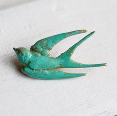 Vogel Brosche zu schlucken... Vogel-Pin Türkis Grünspan grün Vintage