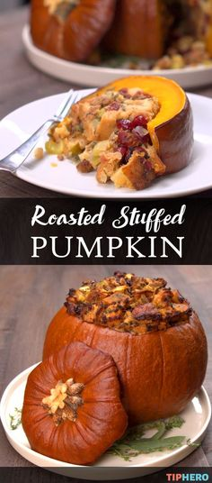 Ever tried cooking pumpkin? This Roasted Stuffed Pumpkin dish is the perfect Fall dish, whether for the big day - Thanksgiving! - or for any autumnal gathering. The pumpkin, filled with apples, sausage and cranberries, is decorative and delicious! Savory Pumpkin Recipes, Pumpkin Dishes, Cooking Pumpkin, Pumpkin Pumpkin, Dinner In A Pumpkin Recipe, How To Roast Pumpkin, Autumn Food Recipes, Autumn Recipes Dinner, Autumn Cooking