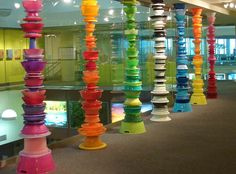 Greetings from: Albany International Airport - Stuck at the Airport Architectural Columns, New York Tours, Water Slides, World Of Color, Color Pallets, Modern Interior Design, Garden Art, Color Inspiration, Clear Glass