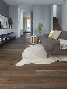 Mink Grey American Oak timber floors by Royal Oak Floors. Royal Oak Floors, White Oak Floors, Grey Floorboards, Living Room Wood Floor, Living Room Carpet, Timber Flooring, Hardwood Floors, Flooring Ideas, Flooring 101