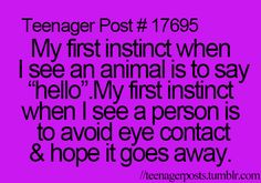 Teenager Posts //Is it sad that this is true?  And yet I can talk like a normal human online?  xD