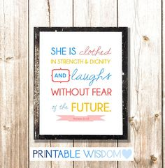 Bible Verse Printable, Scripture Print Christian wall art decor poster, typography - Proverbs 31:25. $5.00, via Etsy.