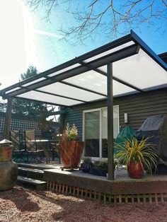 Keep Rain Out - Bring Light In - Patio Covers Add Affordable Living Space to Your Home Garage Pergola, Pergola Patio, Diy Patio, Backyard Patio, Pergola Ideas, Backyard Ideas, Garden Ideas, Outside Living, Outdoor Living