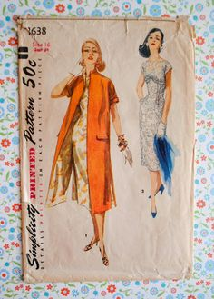 Vintage 1950s Misses Empire Line Boat Neckline Slim Silhouette Dress & Mandarin Collar Kimono Sleeve Coat Size 16 Bust 34 Sewing Pattern