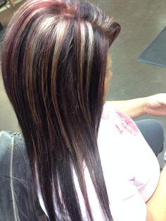 Blonde highlights . Red lowlights . Brown base. Hair by Megan McShane  ©