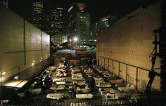 Skid Row, Los Angeles: Rows of homeless people.
