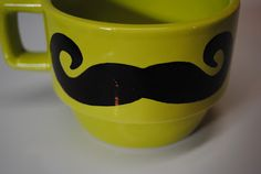 {DIY} Mustache Coffee Mug with Sharpie and Target stackable mugs from dollar section.  Simple: Decorate with sharpie, bake @ 350 degrees for 30 min. <3