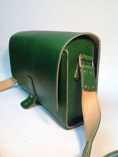 Leather vintage green post bag by wolfram Lohr
