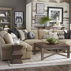 U-Shaped Sectional - I like the reclaimed wood look on the back wall.
