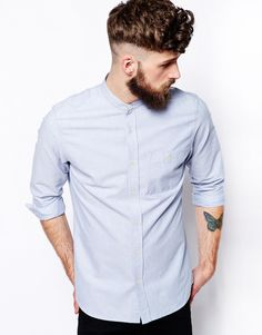 ASOS Oxford Shirt In Blue With Long Sleeves And Grandad Collar.  Just arrived and i love it.  Bang on trend for Summer 2015!