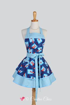 Ruffled Retro Apron - Fun Seuss Cat in the Hat Blue Polka Dots Vintage Style Full Kitchen Apron Personalize or Monogram
