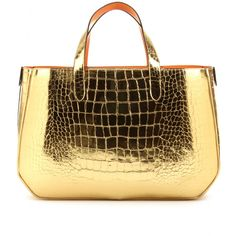 Gold croc from Marc Jacobs as seen on Mrs. Lilien.  Total lust.  #gold #tote #marcjacobs