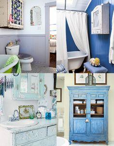 No banehiro móveis antigos: sim, eles têm vez até no banheiro! Se não quiser seguir um estilo mais clássico, aposte nos armárinhos bem desgastados (duas primeiras fotos). Pode ainda repaginar o móvel da pia com uma cômoda antiga ou colocar um armário só para as toalhas e produtinhos.