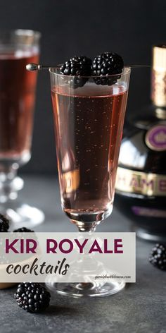 Have you ever had a Kir Royale? One sip and you will know why it's a game changer for prosecco cocktails! Toast your loved one with one tonight! Champagne Drinks, Prosecco Cocktails, Cocktail Garnish, French Cocktails, Drinks Alcohol Recipes, Drink Recipes, Best Sparkling Wine
