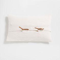 Imagem de produto Capa de almofada de linho água-marinha com fecho de laço