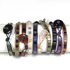 Leather wrap bracelets with miyuki tila beads. Tila beads are flat, light and very smooth and work up to make a very light, comfortable bracelet. These bracelets are fun, easy to wear (stack them!), and addictive!!!
