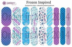 Frozen inspired Jamberry Nail Wraps created in our Nail Art Studio.   http://nailvanity.jamberrynails.net/ #jamberry #nailart #nailvanity #frozen