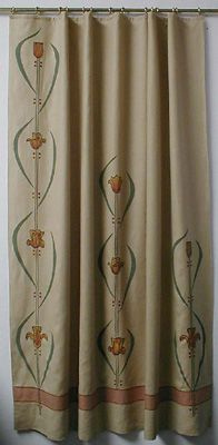 Stenciled Arts Crafts Curtains...could do something similar for shower curtains