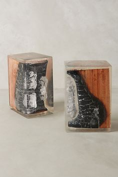 Charred Wood Bookends #anthropologie For 348 bucks, these charred wood book ends could be yours. WHAT?!