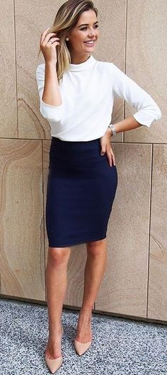 #summer #outfits White Top + Navy Pencil Skirt + Nude Pumps