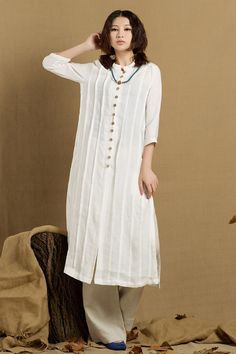 long linen shirt in white single breasted tunic by camelliatune, $89.00