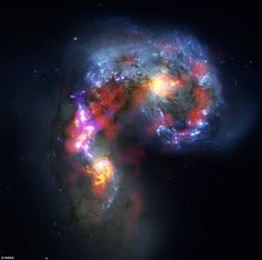 The Crow: Antennae Galaxies are a pair of distorted colliding spiral galaxies about 70 million light-years away, in the constellation of Corvus (The Crow)  dailymail.co.uk via NASA