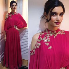 Actress, @DianaPenty in a fuschia #RidhiMehra gown from our Pre-Fall 2016 collection, ELIXIR Styled by @TheHiddenButton To shop…