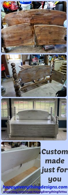 This wonderful storage bench came from an unused bed's headboard and footboard. By using shiplap planks this bench now has become a refurbished shabby chic piece. We love taking unwanted or unused pieces and giving them a new life with new meaning! If you have a piece of furniture hiding in a closet or the basement because you do not know how to make it work in your home, please let me know and I can customize your piece to make it come alive again and fit beautifully with your decor.