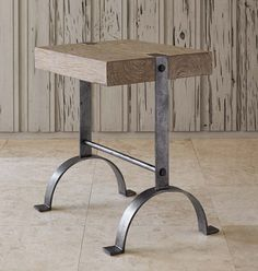 Blacksmith Casual Accent Table Western Cocktail and End Tables - Hand forged iron base with an antique silver leaf finish. Recycled teak top with a light grey wash. Perfect for pulling up to your chair.