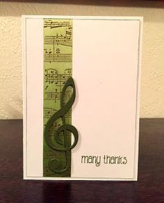 Scrapbooking Stuff: Gold, green and musical - Scrapbooking Stuff: Gold, green and musical - Note Cards, Thank You Cards, Musical Cards, Teachers Day Card, Heart Cards, Valentines Diy, Homemade Cards, Greeting Cards, Men's Cards