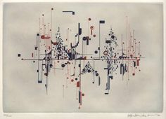 """Roman Haubenstock-Ramati, """"Konstellationen"""", 1971 Mappe mit 25 Kupferstichen, Radierungen, Ätzungen und Aquatinta auf Arches Papier Plattengröße 24 x 35 cm Papiergröße 38 x 75 cm"""