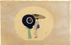 小村雪岱木版画 「春雨」