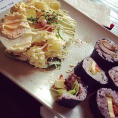 BrimCC Japanese Organic Cafe (CBD): Sushi (Teriyaki & Tofu) and Salad (Potato) [9/10].