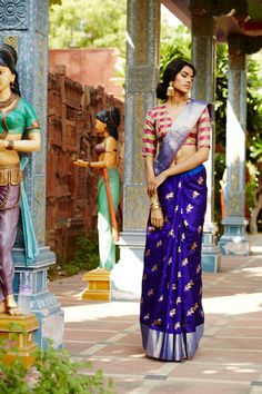 Love this royal blue silk saree teamed with contrast design blouse. Indian fashion.