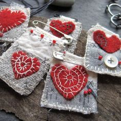 everyday love 11 by mairedodd on Etsy Textile Jewelry, Fabric Jewelry, Jewellery, Sewing Crafts, Sewing Projects, Fabric Brooch, African Trade Beads, Felt Hearts, Vintage Textiles