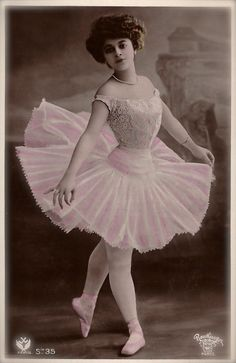 Belle Époque Romantic Ballet Dancer Fancy Glamour Elegant Pose in Pink Feminine Dress by Reutlinger Original RARE 1900s Hand Tinted Postcard