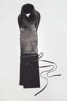 Black Leather and Wool Scarf | Lake |  £307.00 | NOT JUST A LABEL