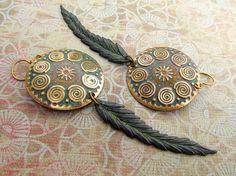 Bohemian earrings Spiral dangle earrings trendy Feather earrings patina Bohemian Jewelry