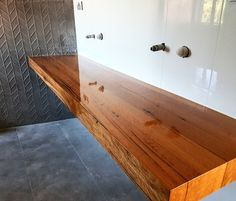 Large floating Blackbutt vanity.  Bringing warmth and detail to a modern bathroom.