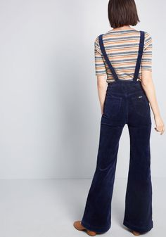 76df784d6ce Bell-Bottom Boldness Corduroy Jumpsuit in Navy Blue Bell Bottom Pants