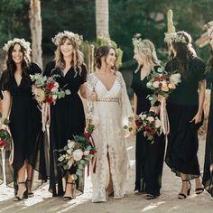 36 best Ideas for wedding diy bohemian bridesmaid dresses Winter Wedding Bridesmaids, Winter Bridesmaid Dresses, Bohemian Bridesmaid, Black Bridesmaids, Black Wedding Dresses, Boho Wedding, Wedding Black, Wrap Wedding Dress, Black Weddings