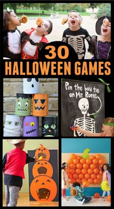 TONS of Halloween party games for kids! #halloweenpartyideas #halloweenpartygames #halloweengamesforkids #growingajeweledrose #activitiesforkids Halloween Games For Kids, Kids Party Games, Halloween Activities, Halloween Crafts, Halloween 2020, Haloween Games, Halloween Poems, Preschool Halloween, Halloween Carnival