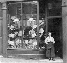 Typical hat shop of the time c.1910 from Newcastle-under-Lyme.