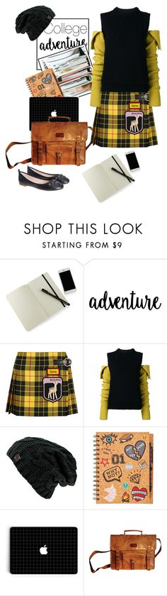 """College"" by sara-cdth ❤ liked on Polyvore featuring Moleskine, Miu Miu, Calvin Klein 205W39NYC, SHARO and Marc Jacobs"