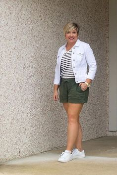 summer outfit for women over 40 with striped tee and white sneakers #fashionover40 #summerstyle #sneakers #outfitideas Over 50 Womens Fashion, Fashion Over 40, Summer Sneakers, White Sneakers, Casual Summer Outfits, Cute Outfits, Outfits With Striped Shirts, How To Wear Sneakers, Home Outfit