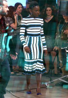 Lupita's striped dress.