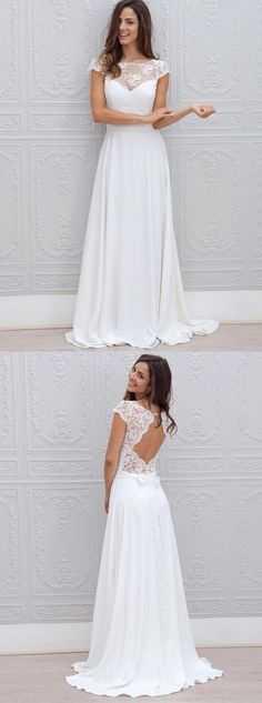 A-Line Bateau Sweep Train Open Back Chiffon Lace simple cheap Wedding Dress , WD0400