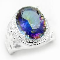 Gorgeous Mystic 925 Sterling Silver Topaz Ring