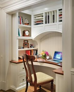 desk nook...things you miss when you live in an old house - fresh crisp not dinged molding